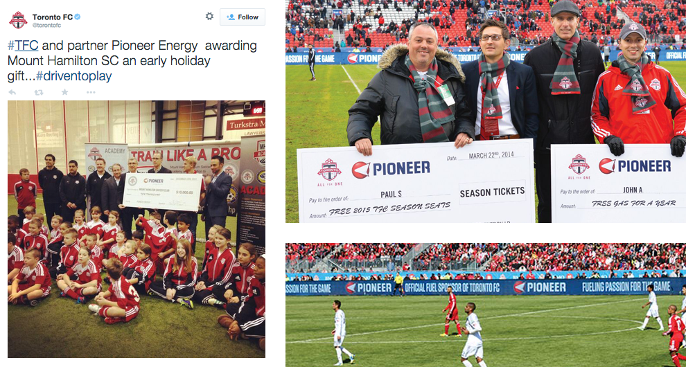 MLSE Toronto FC Pioneer Energy Driven to Play youth soccer loyalty card Twitter tweet